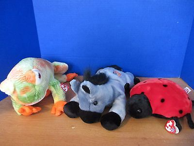 TY Beanie Buddies~Lot of 3 Plush~LUCKY Ladybug~PRINCE Frog~LEFTY Blue Horse