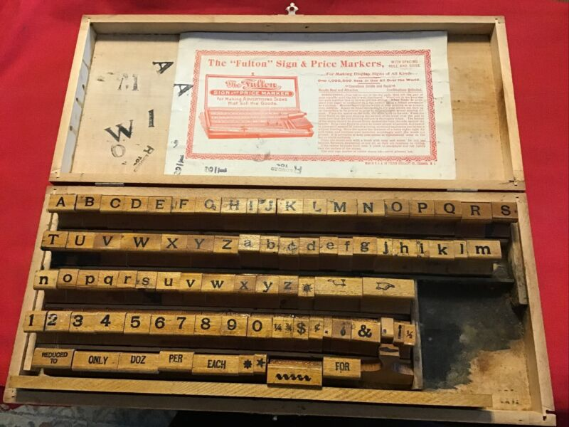 Antique Early 1900s Alphabet Sign Making Stamps Kit
