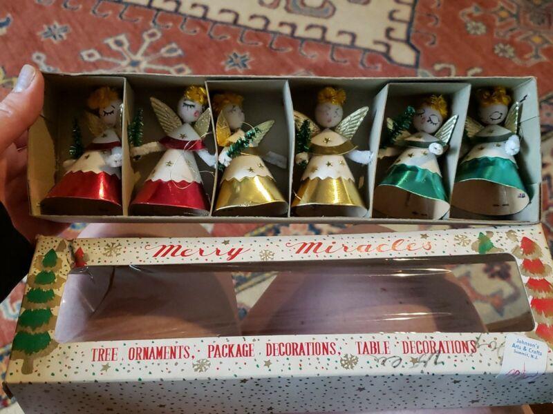 Vintage Christmas Merry Miracles Japan Angels Foil Felt Chenile