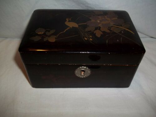 Vintage Asian Lacquerware Jewelry Box Gilt Peacock Floral Scene Silk Lined