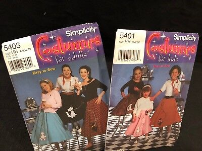 Simplicity Costume Easy To Sew Poodle Skirt Halloween Dance  - Easy To Sew Halloween Costumes