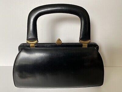 1940s Handbags and Purses History Hardcase 1940s 50s 'Opera' Handbags Melbourne VTG Black Leather Doctors Bag $144.78 AT vintagedancer.com