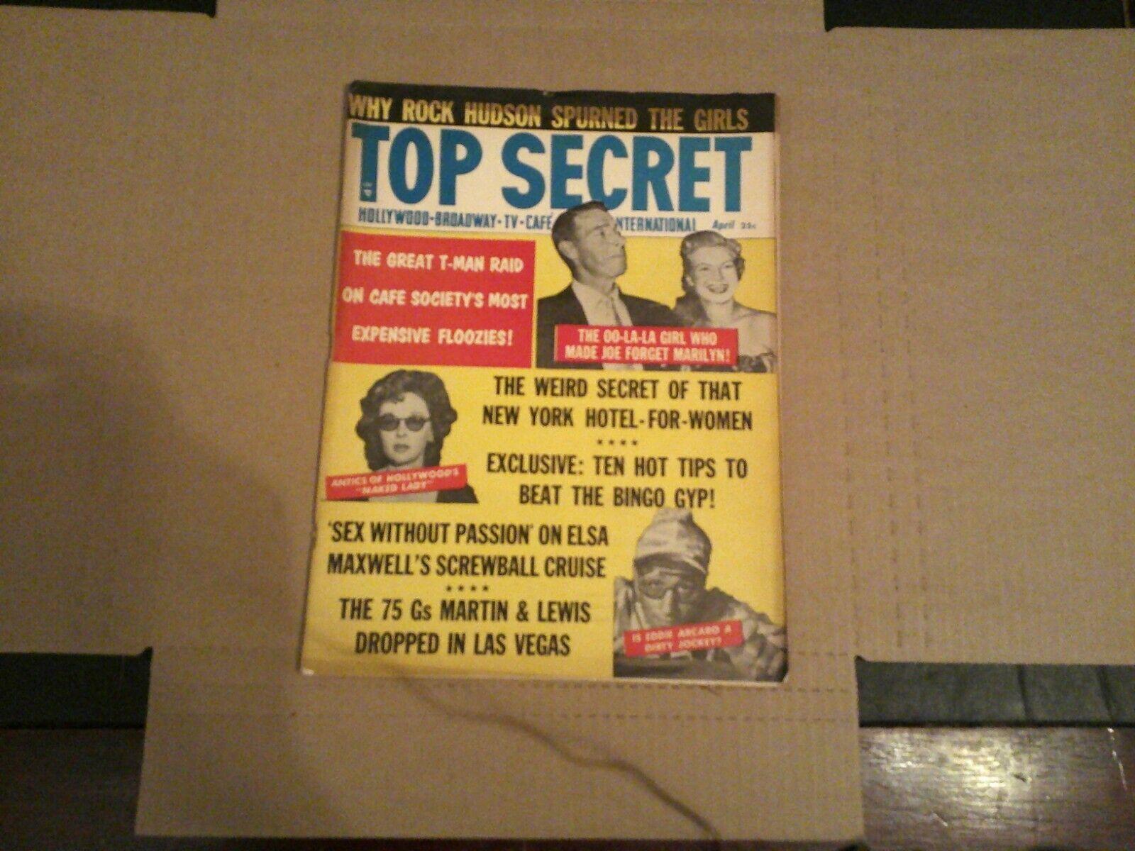 APR 1956 TOP SECRET MAGAZINE SCANDAL GOSSIP JOE DIMAGGIO VERONICA LAKE - $7.50