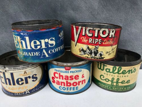 Vintage Coffee Tin Cans : Chase Sanborn, Ehlers, Wallen