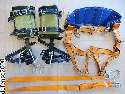 Tree Climbing Spike Set Safety Belt With Straps Adjustable Lanyard