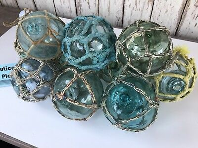 "(10) x 3"" Japanese Glass Fishing Floats ~ With Netting ~ Authentic Old Vintage"