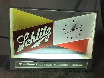 Vintage 1955 Schlitz Beer Cash Register Clock Bar Light Sign - Keeps Great Time!