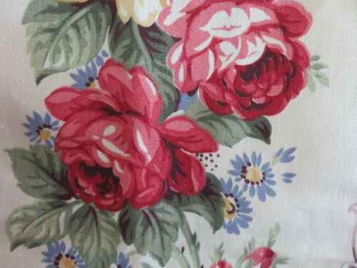 ROMANTIC Vintage BARKCLOTH era Never Used PINK ROSES & Scrolls on Creamy White