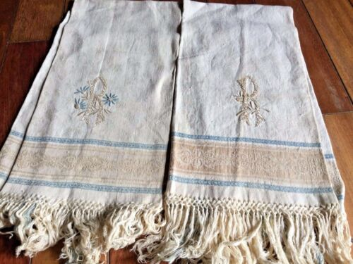 OLD PRIMITIVE ANTIQUES HAND WOOVEN HOMESPUN TOWELS LINENS his & her