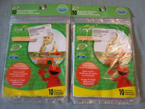 SESAME STREET Lot of 2 Disposable Placemats Table Toppers 10 pack each NEW