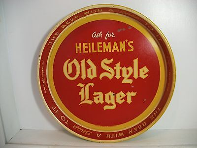 RARE VINTAGE HEILEMANS OLD STYLE LAGER BEER TRAY METAL TIN YELLOW LETTERING