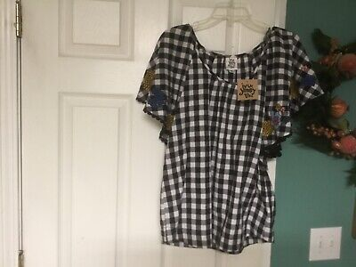 Ivy Jane Boho Checkered & Floral Embroidered Blouse Small (CON40)