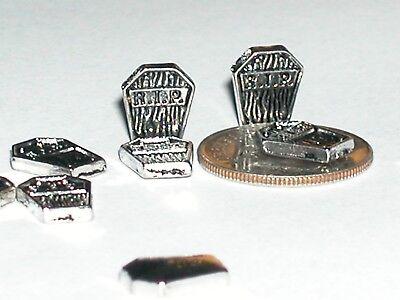 2 Halloween Headstones (2pc. Miniature loose mini tiny little Graveyard RIP Headstone skull Halloween)