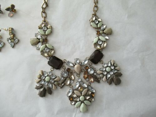 LOT 3 J CREW STATEMENT NECKLACE EARRINGS CRYSTAL
