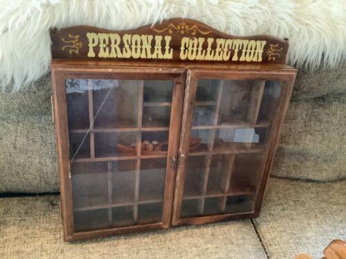 Vintage Wood & 2 Glass Doors Wall Curio Miniature wall Display Cabinet shelf