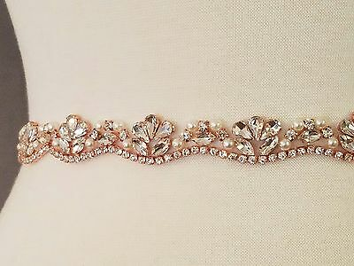Wedding Bridal Sash Belt, ROSE GOLD Crystal Pearl Wedding Dress Sash Belt