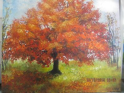 Folk Art Halloween Beautiful Fall Autumn Tree In the Woods Painting Lizzy Rainey (The Halloween Tree Art)