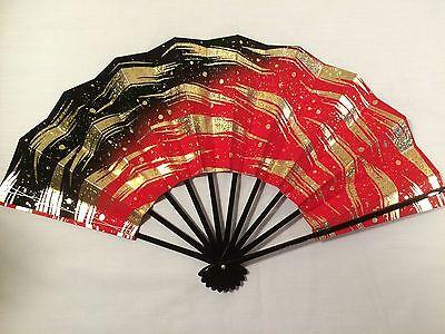 Japanese Geisha Odori Dancing Hand Held SENSU Stiff Folding Fan Beautiful NWOT