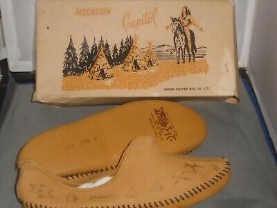 Vintage Indian Slipper Company Capitol Mocassin Slippers Canada Size -