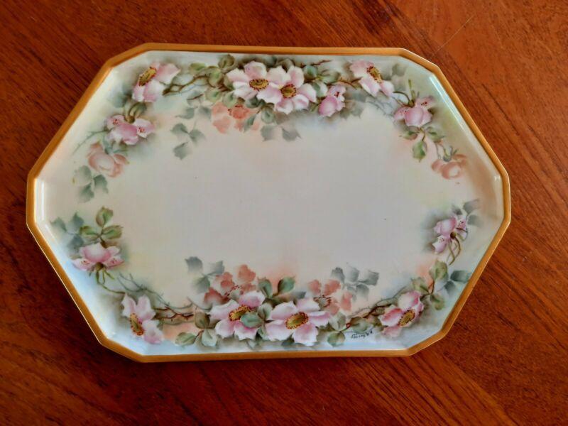 Antique Austria Porcelain Vanity Dresser Tray Pink Roses