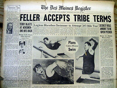 (18 BEST 1938 display newspapers BOB FELLER 2nd baseball year w CLEVELAND INDIANS)