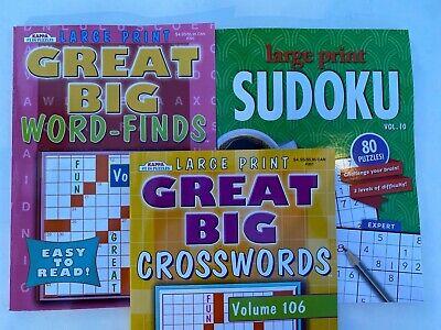 Crossword, Word Find, Sudoku Activity puzzle book bundle 3 Puzzle Books