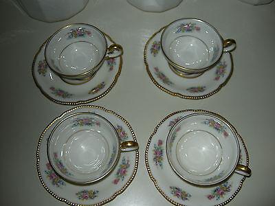 Castleton Bouquet Cups and Saucers x4   EC