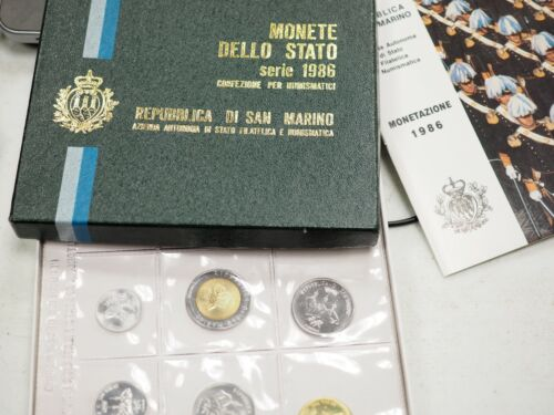 1986 San Marino Italy complete official set coins in official plastic box