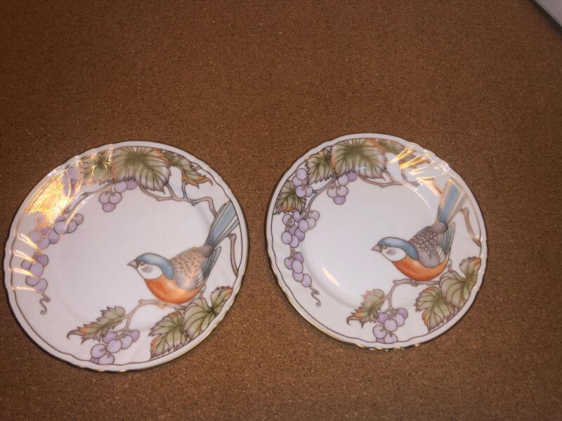 "FITZ FLOYD JAPAN Vineyard Bird Salad plates lot 7 1/2""  PERCHED ON BRANCH robins"
