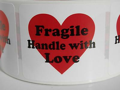 Fragile Handle With Love With Heart 1.75x2 Warning Stickers Labels 250rl
