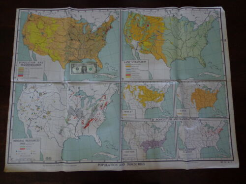 VINTAGE Large NYSTROM Educational School Wall Map POPULATION INDUSTRIES 3