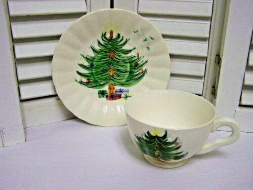 VTG Blue Ridge  Christmas Tree & Mistletoe Cup & Saucer Southern Pottery