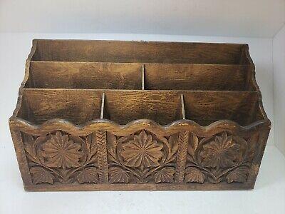 Vtg Lerner Desk Organizer Paper Mail Pen Holder Sorter Faux Carved Wood Storage