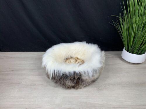 """24"""" Sheepskin Pet Bed Genuine Natural Real Soft * Cat Bed * Dog Bed * Pet Bed *"""