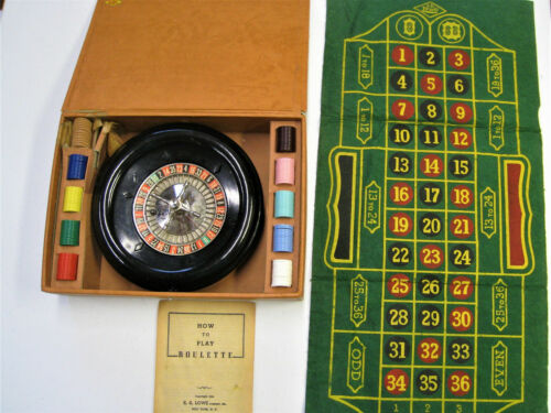 1941 ROULETTE GAME ANTIQUE E.S. LOWE GAMBLING GAME COMPLETE WITH ORIGINAL CASE