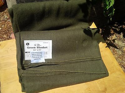 4 lb Green WOOL BLANKET Military Army Style Emergency Survival Camping Blend