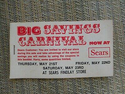 "24 Vintage Sears ""Big Savings Carnival"" coupons for Findlay (Ohio?) Story"