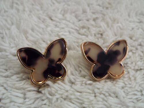Goldtone Brown Cream Tortoise Marbled Acrylic BUTTERFLY Pierced Earrings (A5)