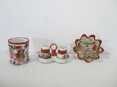 Japanese Kutani Salt Pepper Sauce Dish Vase Antique Hand Painted Geisha Set of 3