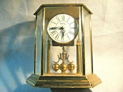 Vintage Bulova Quartz Anniversary Mantel Clock Hexagon Etched Glass