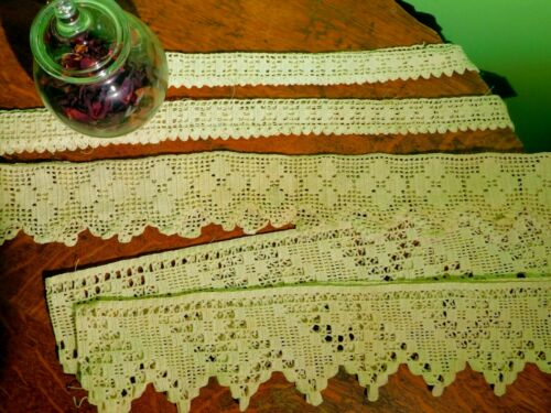 Antique  Vintage Handmade Wide Long Cotton Crochet Lace Trim & Edging