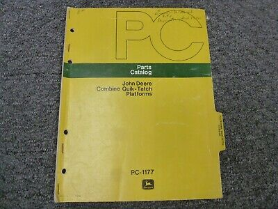 John Deere 6600 7700 Combine Quik-tatch Platform Parts Catalog Manual Pc1177