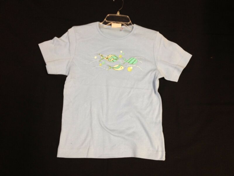 NWOT Light Blue T-Shirt w/ Embroidered Fabric Fishes size Medium