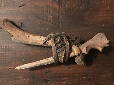 "Circa 1600's Primitive Bone & Twine Halibut Hook ""Tlingit"" Southeast Alaska"