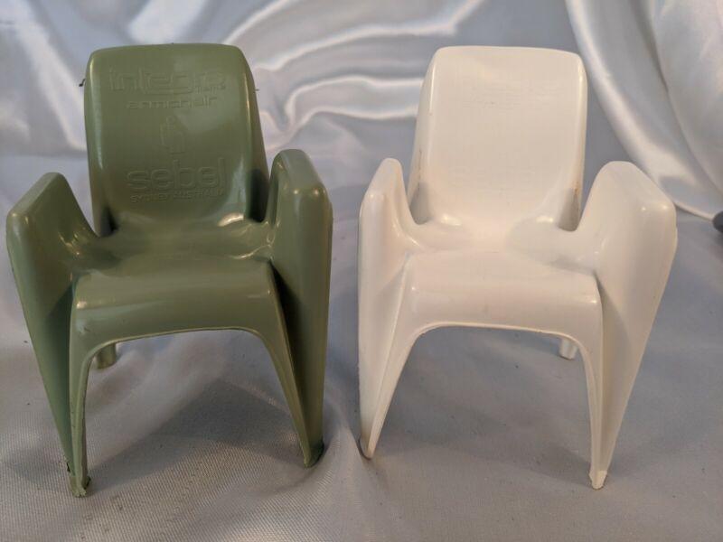 2 Vintage Integra Sebel Plastic Arm Chair Salesman Sales Sample Sage White Doll
