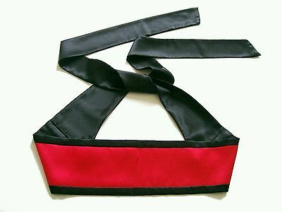 - New Reversible Black Red Satin Obi Sash Belt Wide Tie Belt Colour Choice