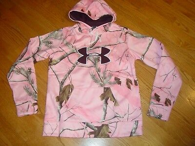 Under Armour Womens M Pink Camo Hoodie Sweatshirt 1265757 935 Ret:$75 COLDGEAR