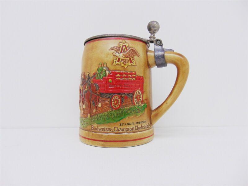 Vintage BUDWEISER Ceramarte 1980 Christmas LIDDED Clydesdale Beer Stein Mug #100