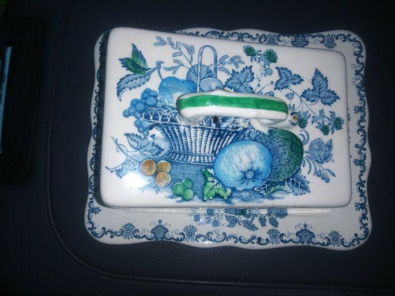 Vintage Masons Ironstone Fruit Basket Green BLUE ! Butter Dish England