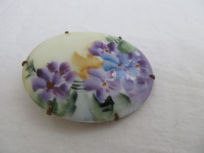 Vintage Hand Painted Porcelain  Floral Pin Brooch